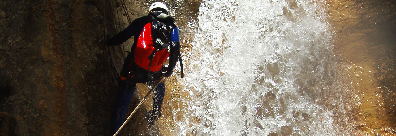 Mascun superior canyoning for experts in Sierra de Guara Spain