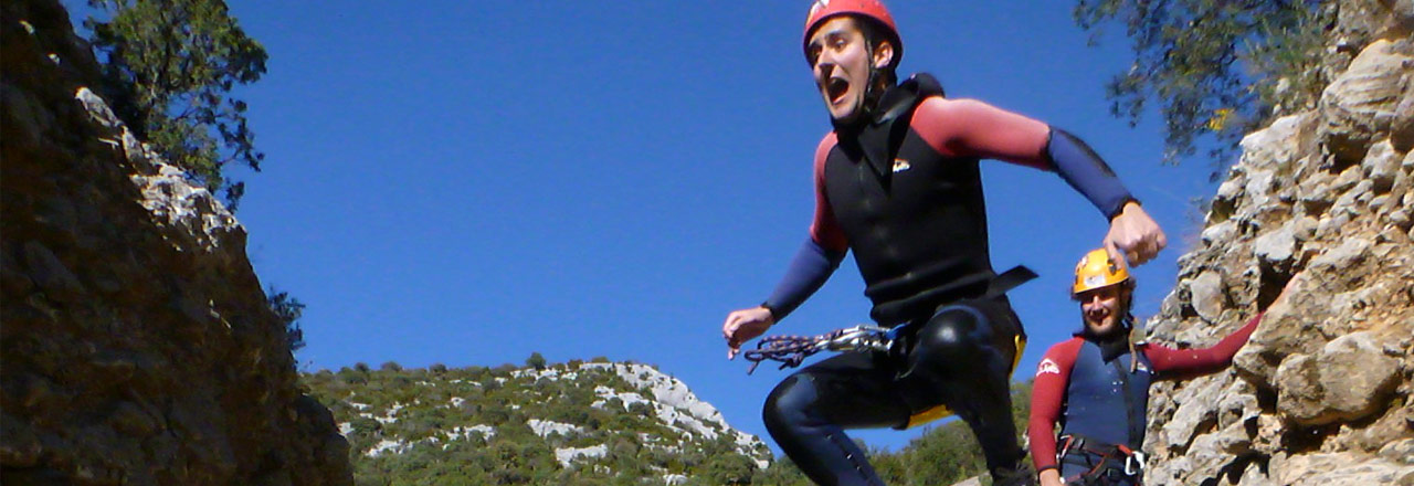 Jumping in the canyon of Sierra de Guara