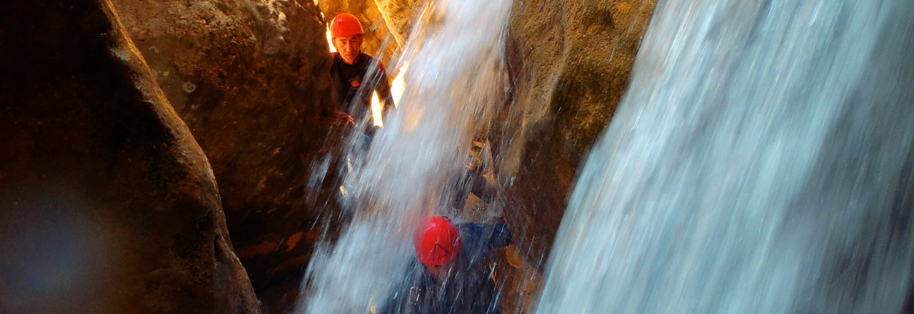 Adventure in a canyoning of Sierra de Guara (Spain)
