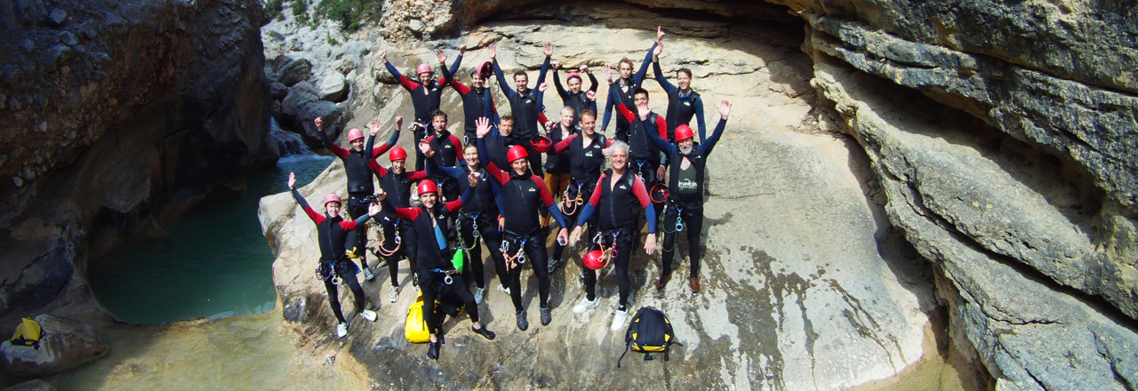 Canyoning for teambuilding & incentives adventures packs for companies in Sierra de Guara (Huesca-Spain)