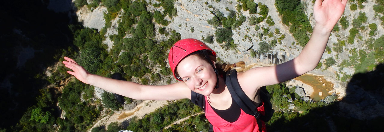 Vertical ascension via ferrata Mascun Sierra de Guara