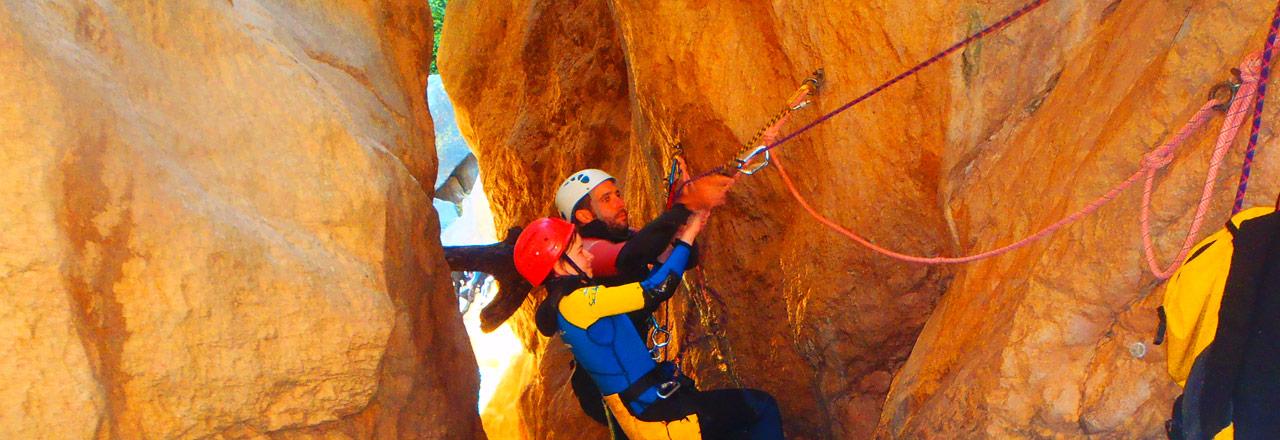 aventure canyoning et rappel avec enfant en Sierra de Guara (Espagne)