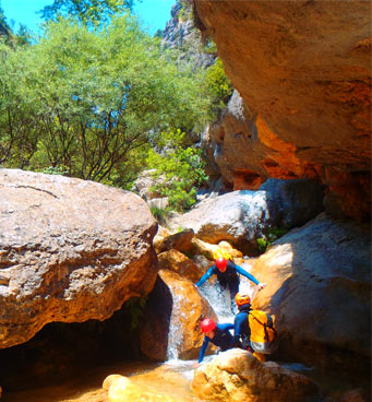 Day of descent of canyon in Sierra de Guara in Spain