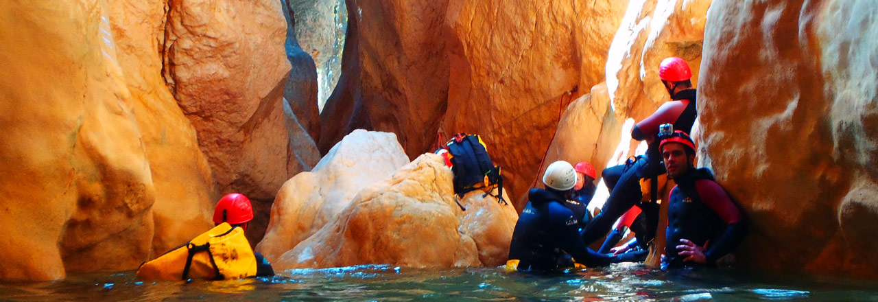 Day of descent of Canyon in Sierra de Guara (Spain)