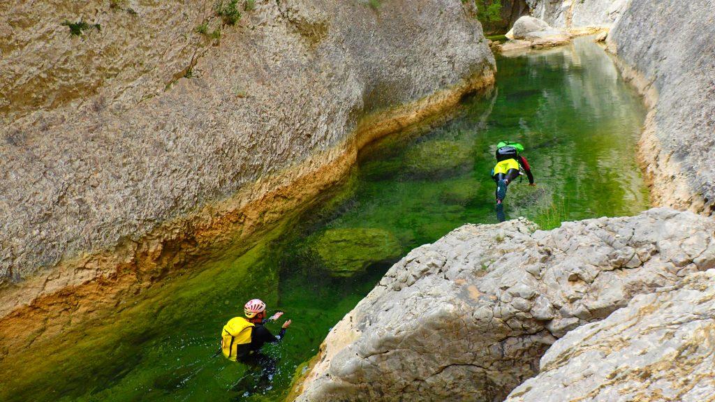 Une des nombreuses vasques durant le canyoning du Gorgas Negras